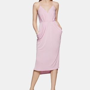 BCBGeneration Blush Draped High-Low Midi Dress